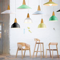 Modern Nordic Brief Art Aluminum Original Wood Led E27 Pendant Light For Dining Room Living Room