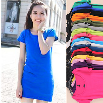 New arrival 2015 candy color women t shirt summer modal short sleeve o-neck tops tees cheap long t-shirt casual tops 17 colors(China (Mainland))