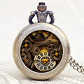 Gear Theme Glass Dome Bronze Fashion Pendant Pocket Watch With Necklace Chain Gift For Men Women