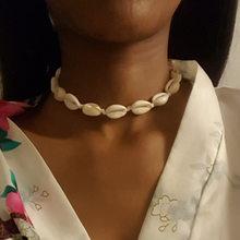 Dây trắng Vỏ Tự Nhiên Vòng Đeo Cổ cho Nữ Thời Trang Bohemian Cowrie Vỏ Mặt Dây Chuyền Vòng Cổ Choker Bãi Biển Mùa Hè Trang Sức(China)