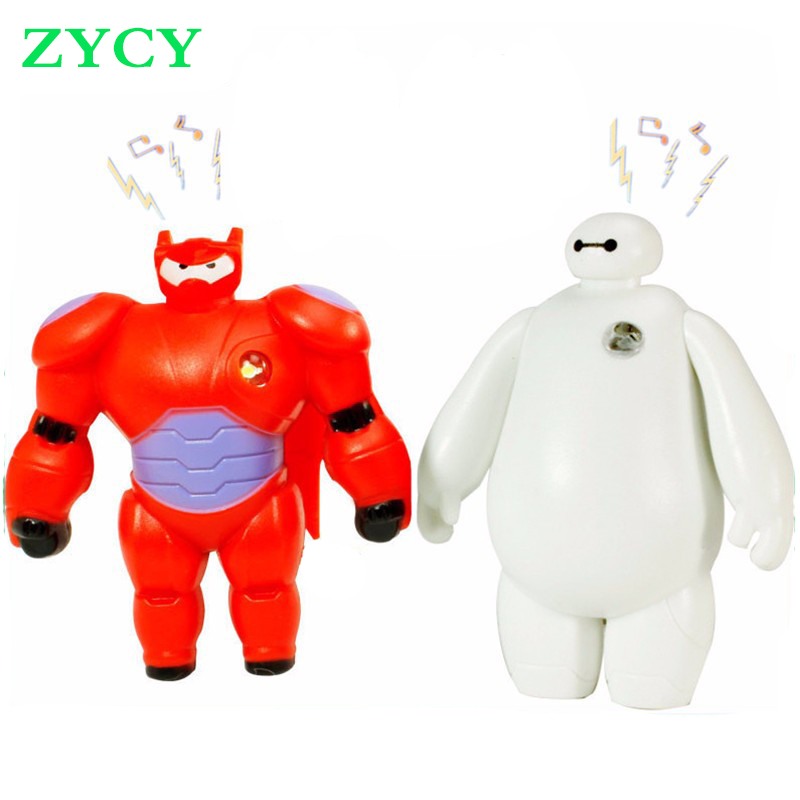 New Big Hero 6 Toys Cartoon Movie LED Light and Sound Baymax PVC Actions Figures Toy Retail And Wholesale(China (Mainland))