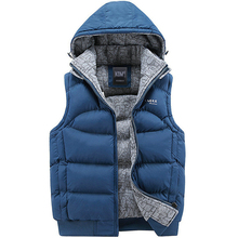 New Stylish Autumn Winter Vest Men High Quality Hood Warm Sleeveless Jacket Waistcoat Men