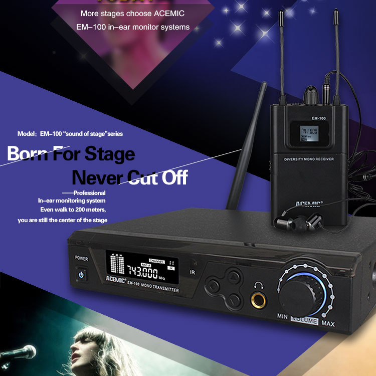 In-ear Monitor EM-100 Professional Monitor System for Stage Performance UHF 740-770MHz True diversity 150M operating range(China (Mainland))