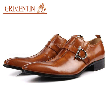 2016 High Quality Men Shoes Luxury Brand Oxford Genuine Leather Buckle Strap Mens Dress Italian Leather Flats Size6.5-11 OX71