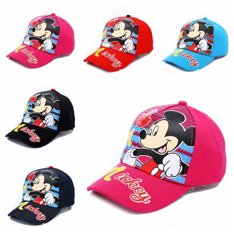 2015 New Product Boys Girls Cartoon Mickey Cotton Printed Baseball Cap Lovely Childrens Adjustable Summer Sun Hats Free shipping(China (Mainland))