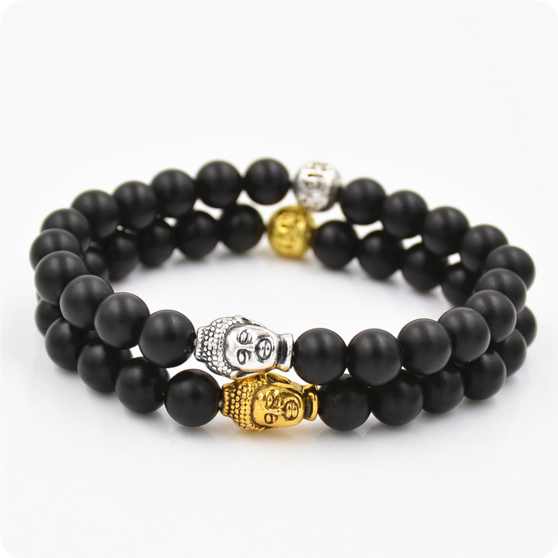 2016 NEW Arrival 2 style 8mm Natural Black Lava Beads 7 Chakra Healing energe Buddha Bracelet Yoga Reiki Prayer Bracelet Q58(China (Mainland))