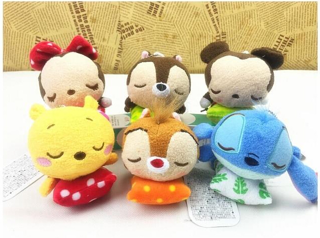 Anime Phone Screen Wipe Mickey Minnie Donald Duck Stitch Kawaii Plush Pendant Keychain11CM Stuffed Soft Toys llaveros Kids Gifts(China (Mainland))