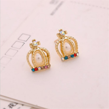Fashion Royal Crown 18k Gold Plated Earrings Women Brincos Women Crystal Jewerly Double Vintage Stud Earring Cheap Femme Jewelry(China (Mainland))