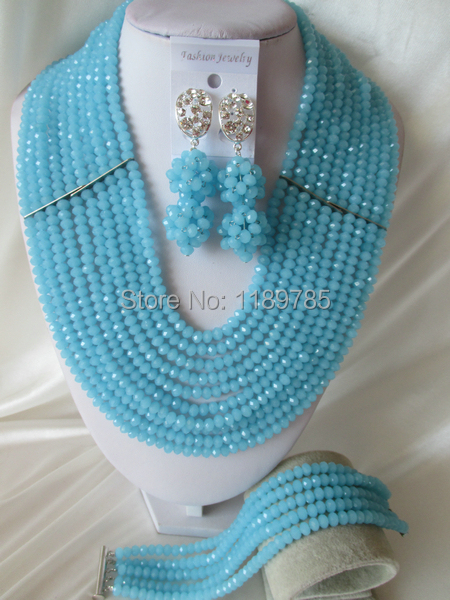 Fashion Nigerian African Wedding Beads Jewelry Set ,Crystal Necklace Bracelet Earrings Set A-4386<br><br>Aliexpress