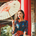 Retro Flower Embroidery Maxi Dress Ladies Summer Short Sleeve Long Dress Ankle Length Beach Vacation Dress for Picnic