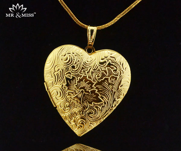 Fashion Jewelry Men Women 18K Yellow Gold Filled 40x40mm Big Photo Locket relief Heart Pendant YP003 - Mr&Miss(J&L storeJewelry )