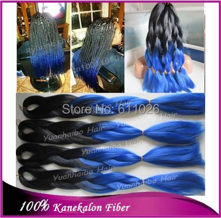 Cheap price!20inch folded black royal blue two tone kanekalon synthetic braiding jumbo braid - YuanHaiBo Wig & Hair store
