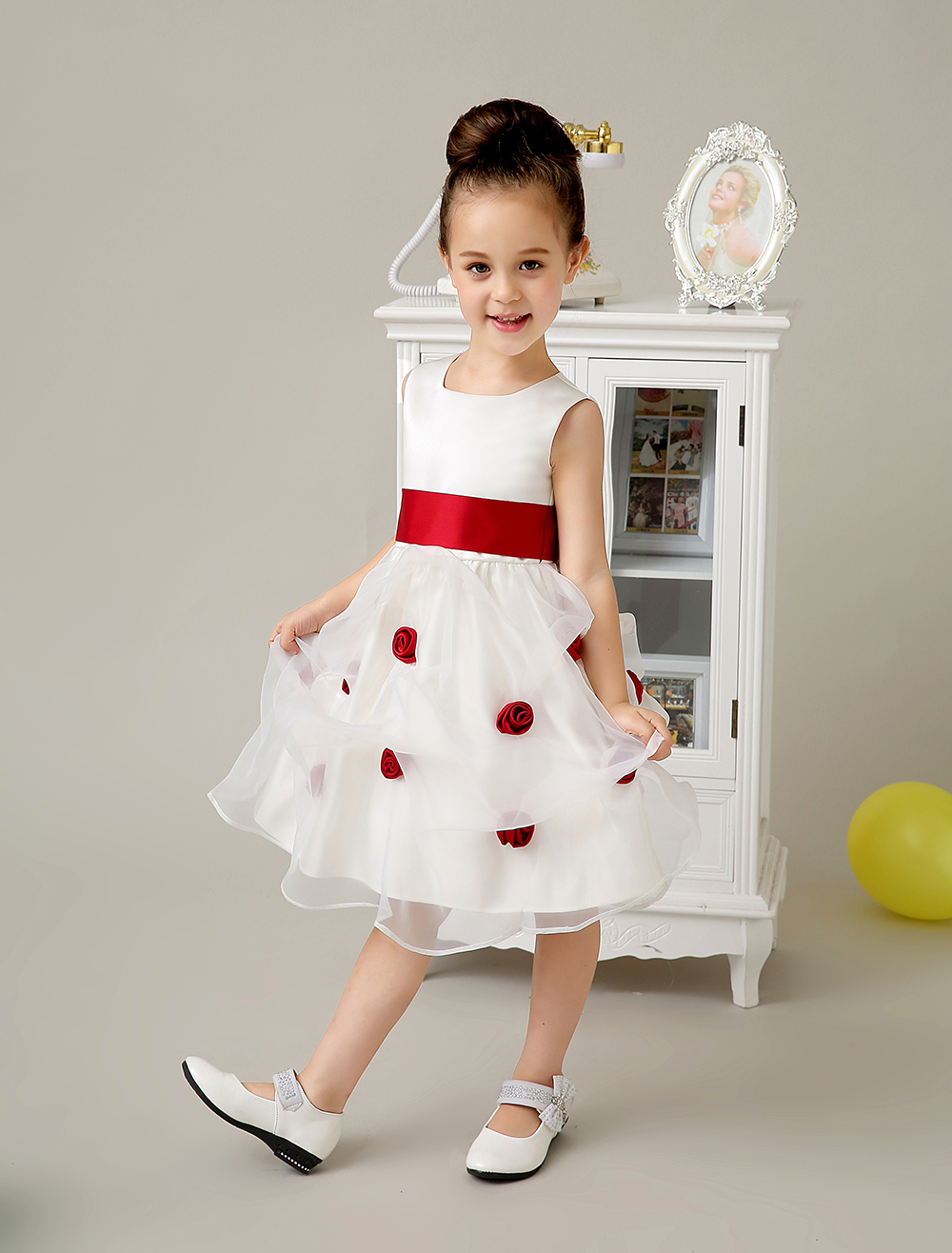 Satin and Tulle A-line little Girl Dresses with red sash wedding flower girls dresses formal dress little girls pageant Dresses(China (Mainland))