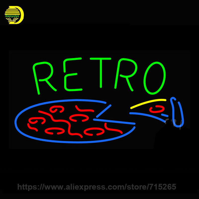 Retro Pizza Neon Sign Beer Bar Pub Decorate Glass Tube Neon Bulb neon light sign Super Lamp Metal Frame Sign shop Display 19x10(China (Mainland))