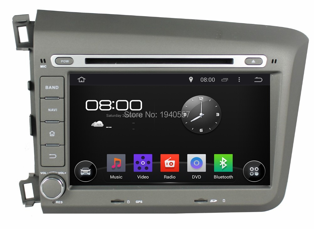 Quad Core 1024*600 Android 5.1 HD 2 din 8″ Car Radio dvd gps for Honda Civic 2012 2013 With 3G WIFI Bluetooth TV USB Mirror link