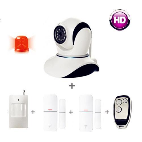 Free shipping! alarm systems security home vs gsm alarm system, IP camera 720p + door sensor + pir sensor+ remote contrtol(China (Mainland))