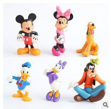 1set(6pcs) 6~8cm MICKEY Minnie Donald Duck Cartoon Action Figure Childre's Toy Free shipping(China (Mainland))