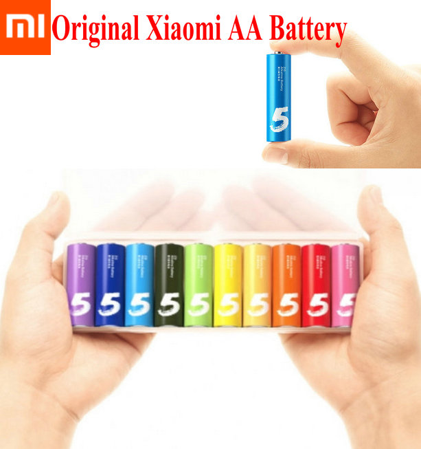 100% Original Xiaomi AA Battery Rainbow 5th Batteries Disposable Alkaline Battery Core No Mercury and Cadmium For Toys Remote <br><br>Aliexpress