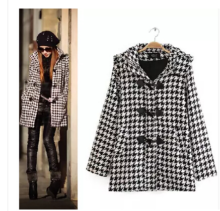 Hot high quality 2014 autumn and winter women's wool & blends fashion brand new horn button houndstooth hooded wool coat(China (Mainland))