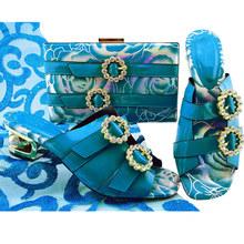 Novo italiano sapatos com correspondência sacos conjunto decorado com strass sapato e saco de correspondência para nigéria festa itália sapato e sacos(China)