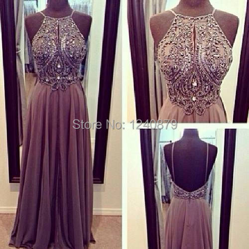 New Arrival Hot Sale Elegant Luxurious Sleeveless Purple Shiny Beaded Crystal Backless Long Formal Evening Dress/ Dresses 2014(China (Mainland))