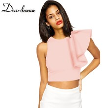 Dear lover Summer camisole Crop tops 2016 Yellow Blue One-shoulder Ruffle bustier crop top Casual fitness vest women LC25434(China (Mainland))
