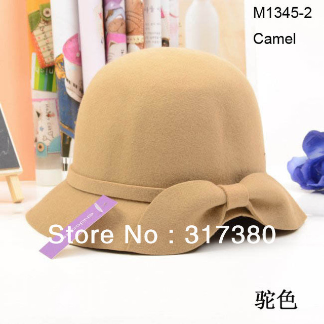 Wholesale 2014 Mix Colors Fashion Women Wool Felt Hats Fedoras Bowler Caps Derby Lady Winter Cap Cloches Fall Bucket Hat Autumn