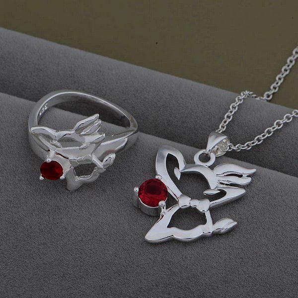 AS534 Trendy silver Jewelry Sets Ring 479 + Necklace 931 /axoajova bylakpsa - jewelry2013 store