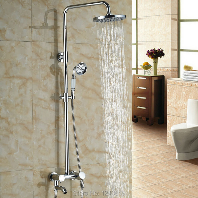 Newly Chrome Plate Shower Tub Faucet Wall Mounted 8