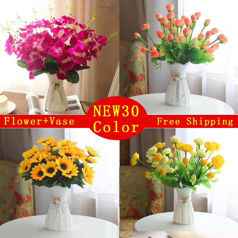 Quality plastic vase silk flowers artificial flower set for Artificial flowers decoration home