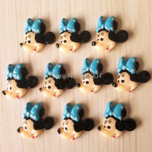 10pcs Cute Minnie Mouse Bow Resin Flatbacks Flat Back Scrapbooking Hair Bow Center Phone Crafts Making DIY BXT381(China (Mainland))