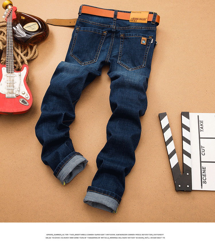 SuLee Winter Straight Stretch Jeans Men New Fashion Trousers Straight Slim Mid Waist Popular Men's Jeans Plus Size 38 40 2066