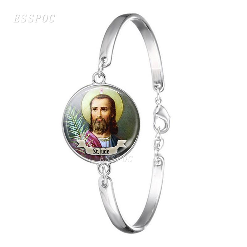 St Michael Glass Cabochon Bracelet Bangle Silver Plated Round ...