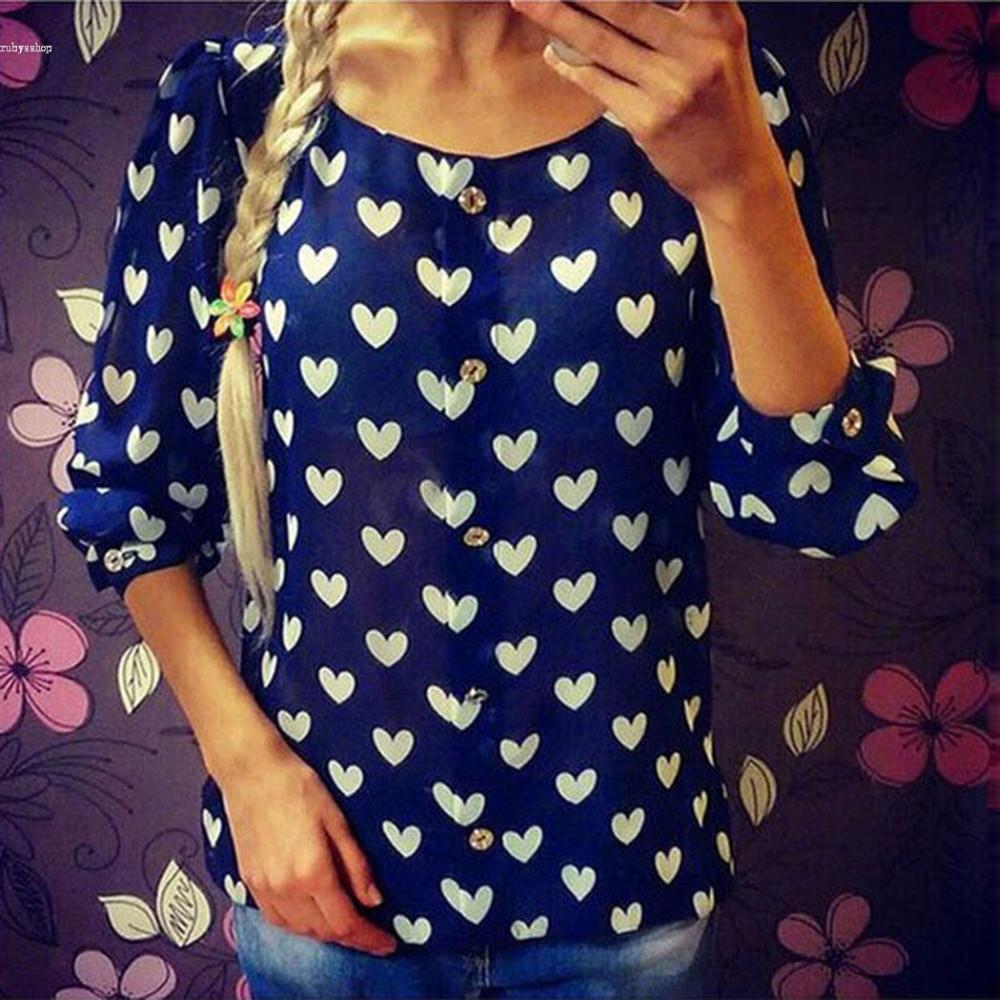 Alishebuy Women Round Neck Long Sleeve Heart Shape Print Button Down Blouse Shirt Casual
