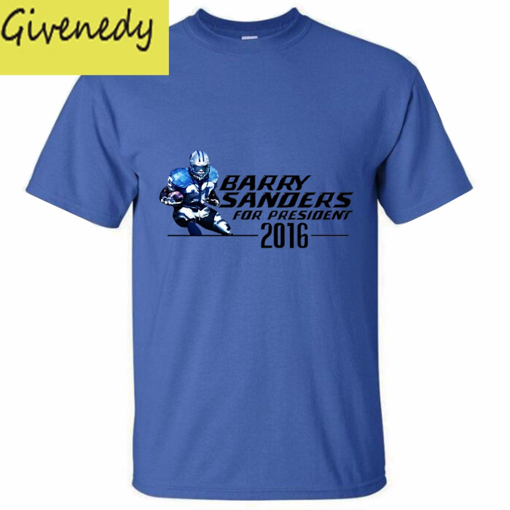 Barry Sanders for President 2016 Mens & Womens Summer Cotton Printing T Shirt(China (Mainland))