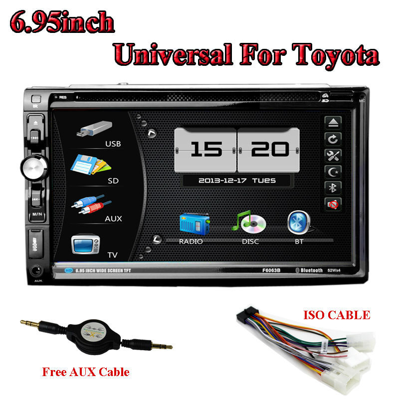 2 Din 6.95inch Car DVD Player V-6903 GPS Navigator LCD touch Screen Car Stereo Bluetooth TV Universal Fit For Toyota(China (Mainland))
