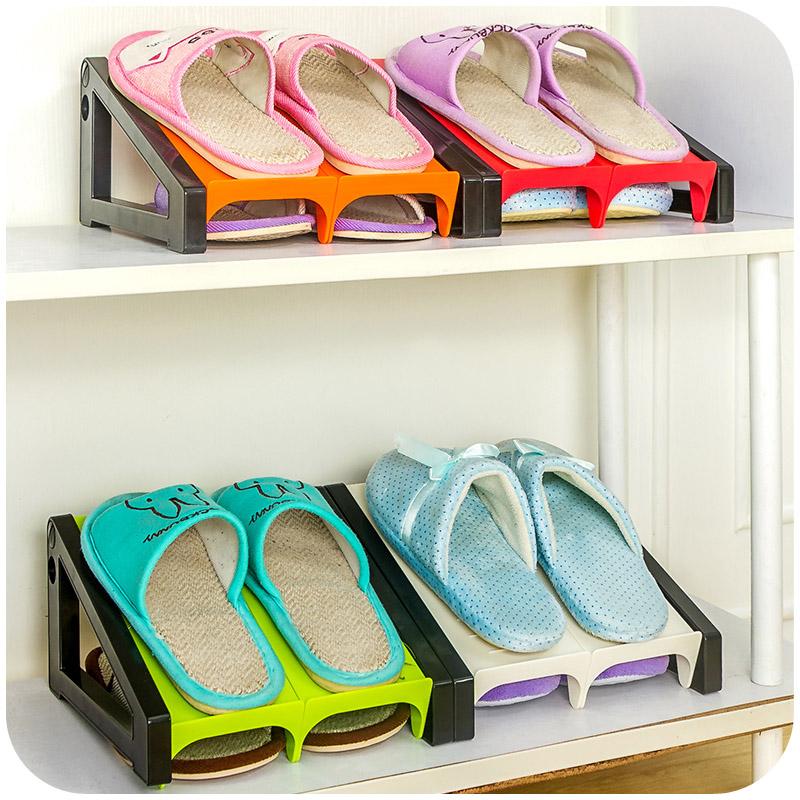 Shoe Rack Creative Plastic Shelf Stand Cabinet Display Storage Organizer Household Modern Style Superposition 24*23*13cm White(China (Mainland))