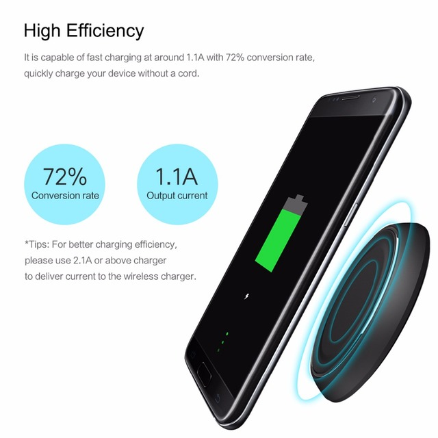 ROCK Qi Wireless Charger 5V2A Fast charger with Blue Led light for Samsung S7 S7 edge S6 S6 edge note5 All Qi-Enabled Devices