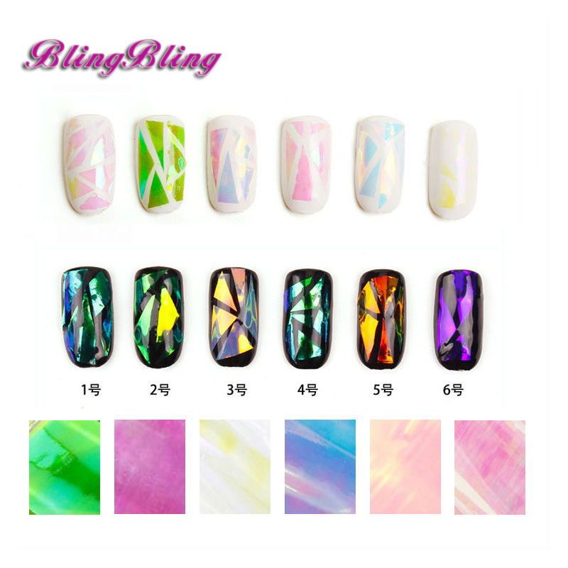 6 Pack Nail Sticker Broken Glass Water Decals Mirror Effect For Nails Art Fancy Punk Galaxy Transfer Nail Foils(China (Mainland))