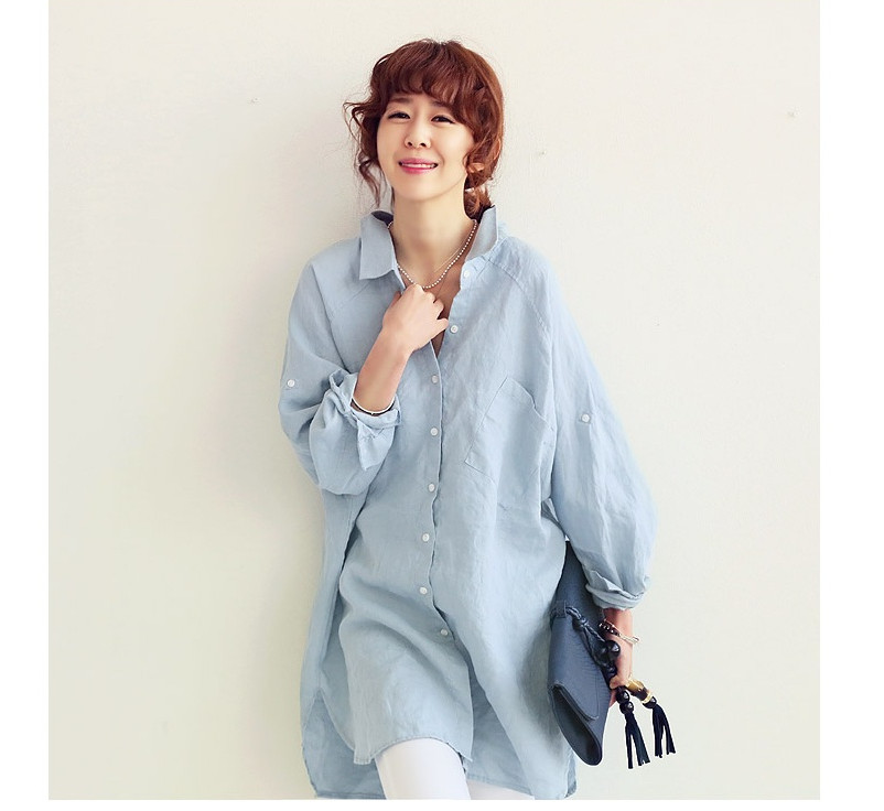 Linen women's mm autumn elegant design loose long plus size shirt long-sleeve female - Fashion Shop 7 store