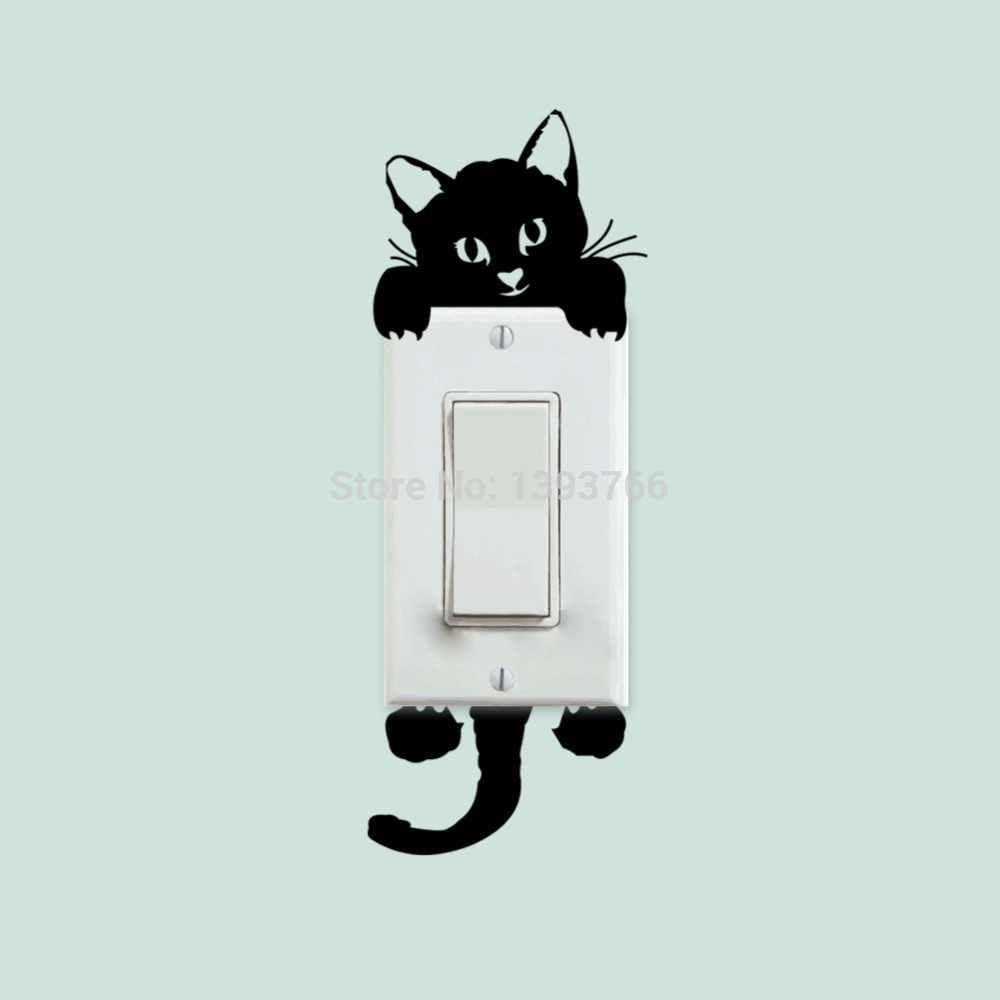 DIY Funny Cute Cat Switch Stickers Wall Stickers Home Decoration Bedroom Parlor Decoration 327(China (Mainland))