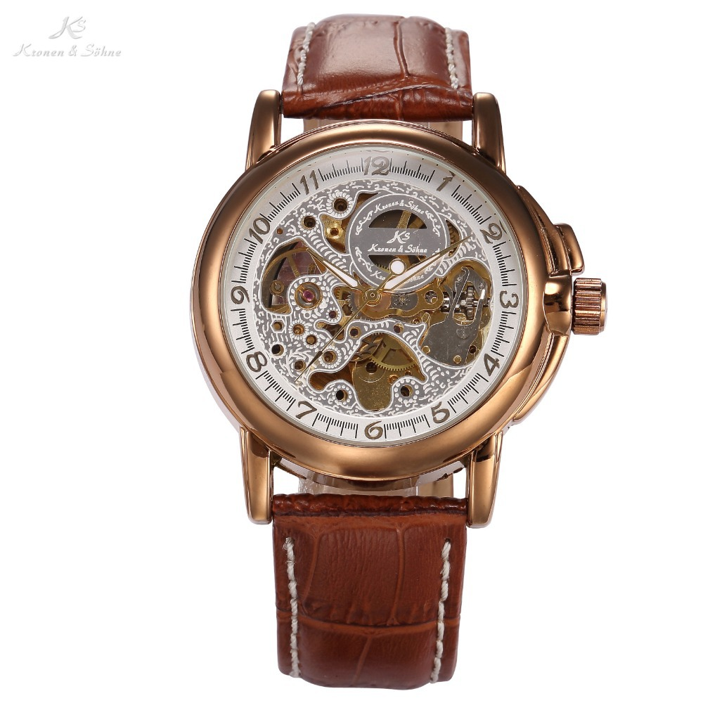 Luxury KS Golden Stainless Steel Case Skeleton Dial Men Automatic Mechanical Brown Leather Strap Wrist Men's Dress Watch / KS037(China (Mainland))