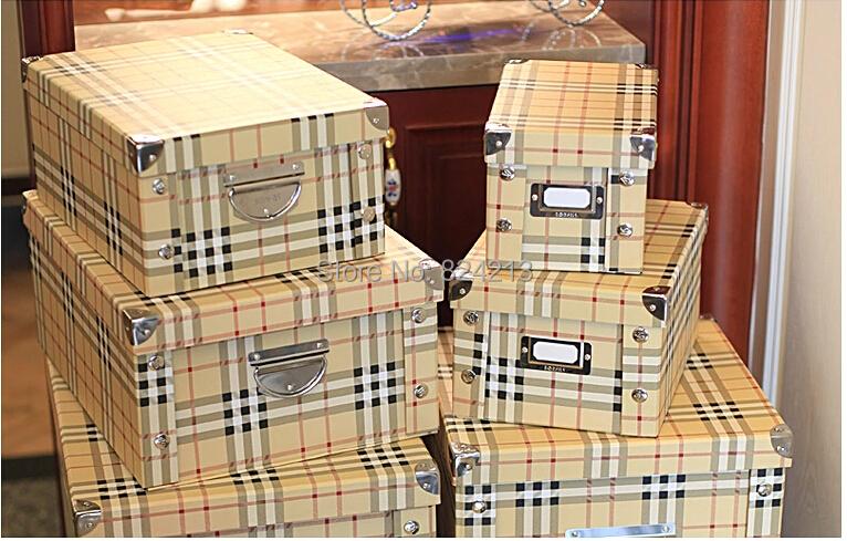 2 unids chequeado caja de almacenaje plegable bolsa ropa - Cajas almacenaje ropa ...