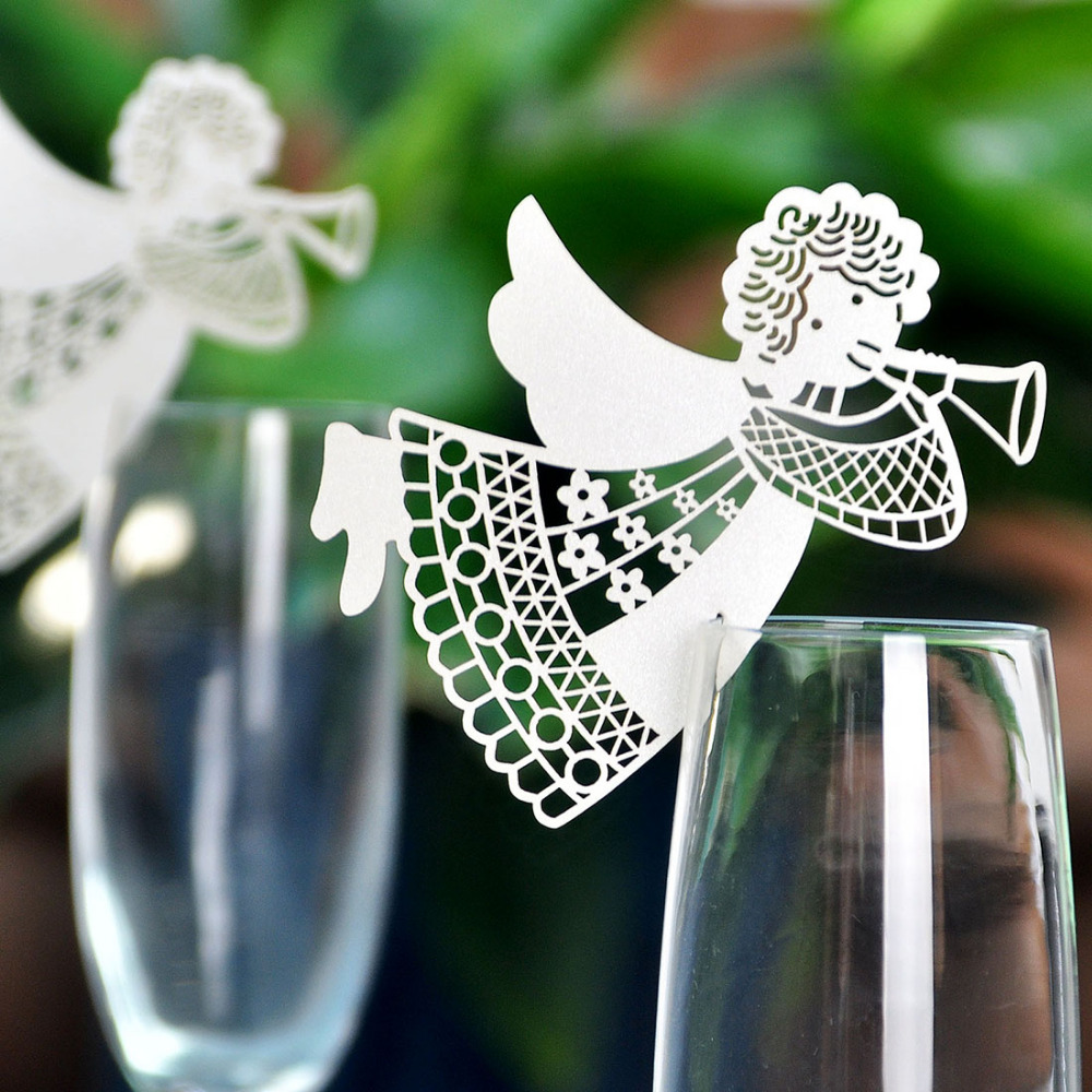 100pcs White Angel Laser Cut Table Mark Wine Glass Name Place Cards Wedding Party Favor Decor Baby Shower(China (Mainland))