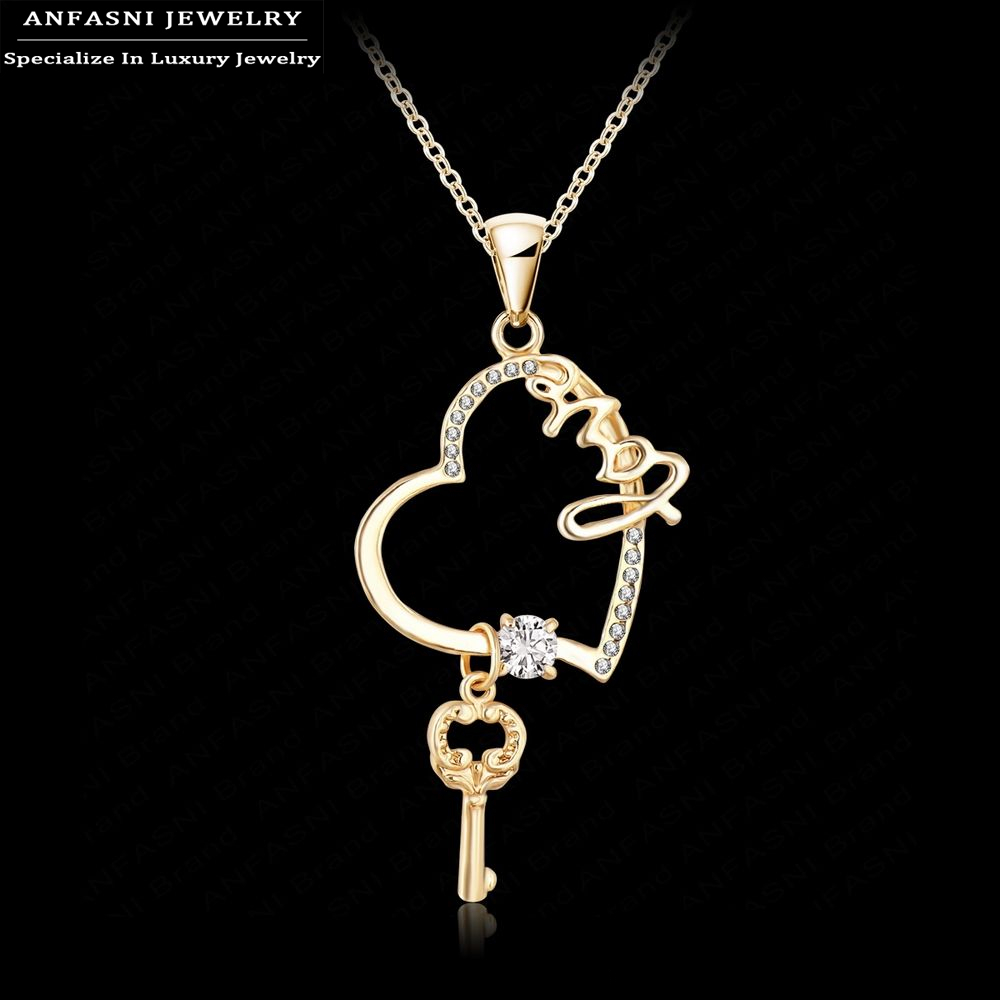 new arrival key charm necklace gold plated austrian