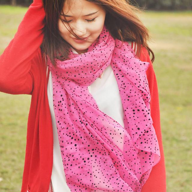 Fresh 2013 polka dot flock printing women's chiffon ultra long silk scarf Calls