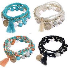 Promotion Bohemia Charm Women Bracelets Shambhala Crystal Beads Multi layer Tassel Bracelets & Bangles With Vintage Coin Pendant(China (Mainland))