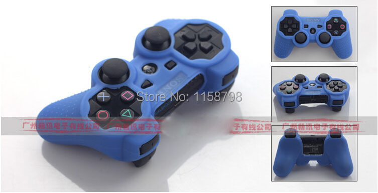 Free Shipping Silicone Rubber Case Protective Cover for PS3 Controller Blue(China (Mainland))