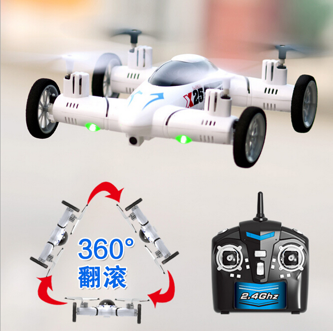 Hot Sale RC Helicopter X25 2.4G 8CH 6-Axis of Gyroscope 360 Degree Eversion Auto Return RC Guadcopter Flying Car(China (Mainland))