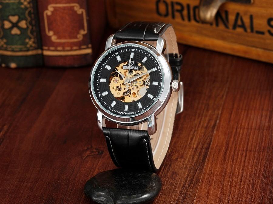 GOER марка Моды мужской наручные часы Световой цифровой Скелет кожа спортивные мужские часы Машины автоматическая Водонепроницаемый